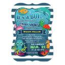 Colorful Sea Life Boy Baby Shower Invitations