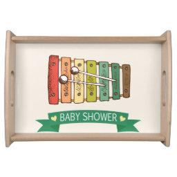Colorful Vintage Toy Xylophone Baby Shower Serving Tray