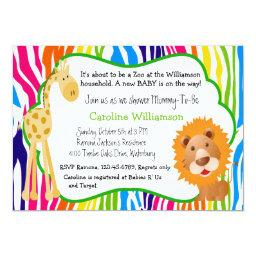 Colorful Zoo Animals Gender Neutral Baby Shower