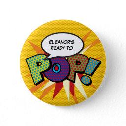 Comic Book Ready To Pop! Baby Shower Sprinkle Button