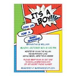 Comic Book Superhero Baby Shower Invitation