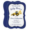 Construction Backhoe Boy Baby Shower Invitation