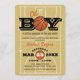 Cool Basketball 'oh Boy' Baby Shower Invitation