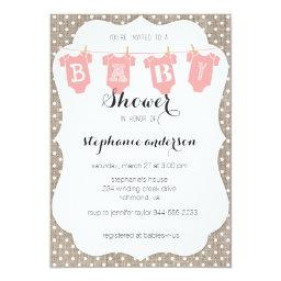 Coral & Burlap Dots Clothesline Baby Shower Invite