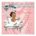 Coral Gray Pearl Chair Ethnic Girl Baby Shower Invitation