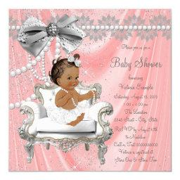 Coral Gray Pearl Chair Ethnic Girl Baby Shower