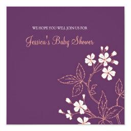 Coral Plum Floral Custom Baby Shower