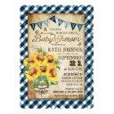 Country Sunflowers Gingham Check Boy Baby Shower Invitation