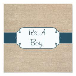 Country Teal Green and Beige Burlap