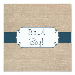 Country Teal Green and Beige Burlap Baby Shower