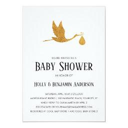Couples Baby Shower Faux Gold Foil Stork W/ Bundle Invitation