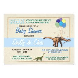 Couples Dinosaur  Its a Boy Blue Invite