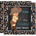 Cowboy Baby Shower Boy Blue Brown Invitation