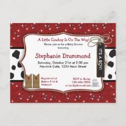Cowboy Baby Shower Invitation In Red Bandana