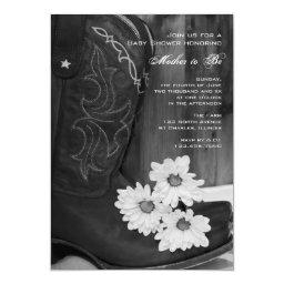 Cowboy Boots Daisies Country Baby Shower Invite