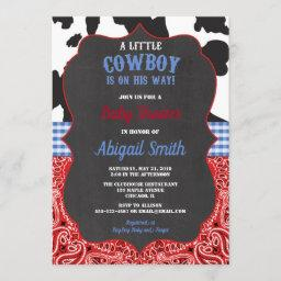Cowboy Western Red Bandana Blue Boy Baby Shower Invitation