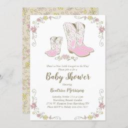 Cowgirl Baby Shower Country Western Pink Girl Invitation