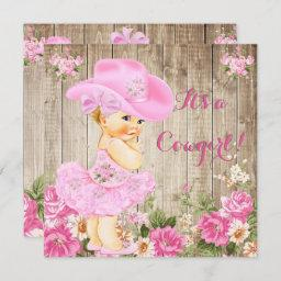 Cowgirl Baby Shower Pink Rustic Wood Girl Blonde Invitation