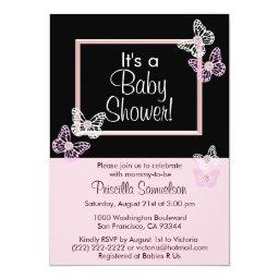 Custom Pink Butterfly Baby Shower