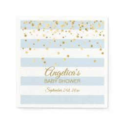 Custom Stripes Pastel Blue Gold Boy Baby Shower Napkin