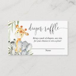 Cute Animals Gender Neutral Diaper Raffle Invitations
