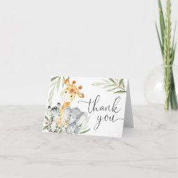 Cute Animals Gender Neutral Greenery Watercolor Thank You Invitations