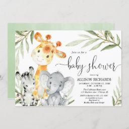 Cute Animals Gender Neutral Safari Baby Shower Invitation