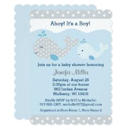 Cute Baby Blue & Grey Whale Baby Shower