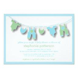 Cute Baby Clothes on the Line for Boy Baby Shower