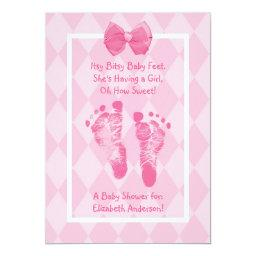 Cute Baby Girl Footprints Baby Shower Pink Ribbon