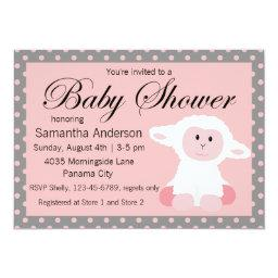 Cute Baby Lamb and Polka Dots Baby Shower