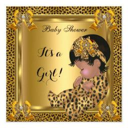 Cute Baby Shower Baby Girl Leopard Gold Invitations