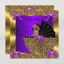 Cute Baby Shower Baby Girl Leopard Purple Gold Invitation