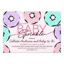 Cute Baby Sprinkle Pink Green Purple Donuts Shower Invitation