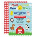 Cute Barnyard Farm Animals Baby Shower Invitation