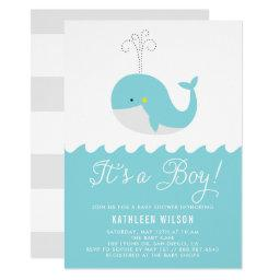 Cute Blue Baby Whale It's A Boy Baby Shower Invitations