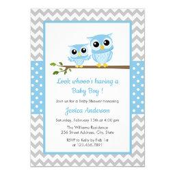 Cute Blue Owl Gray Chevron Boy Baby Shower Invitation