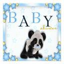 Cute Blue Panda Bear Baby Shower Invite