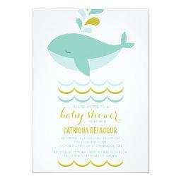 Cute Blue Whale It's A Boy Baby Shower Invitations