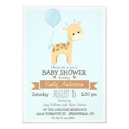 Cute Boy Giraffe, Jungle Zoo Animal Baby Shower