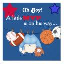 Cute Boys Sports Baby Shower Invitation