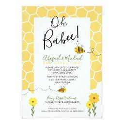 Cute Bumble Bee Baby Shower Honeycomb Watercolor Invitation