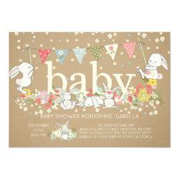 Cute Bunny Gender Neutral Baby Shower Invitations