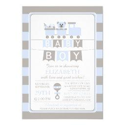 Cute Carriage Bear Boy Baby Shower Invitation