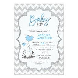 Cute Chevron Blue Grey Elephant Baby Shower Boy Invitation