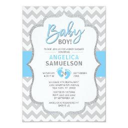 Cute Chevron Blue Grey Feet Baby Shower Boy Invitation