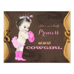 Cute Cowgirl Princess Baby Shower Invitation