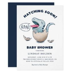 Cute Dinosaur Boy Baby Shower Hatching Soon Invitation