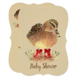 Cute Duck In Red Boots Baby Shower Invitation