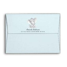 Cute Elephant Baby Shower Invitation Envelope
